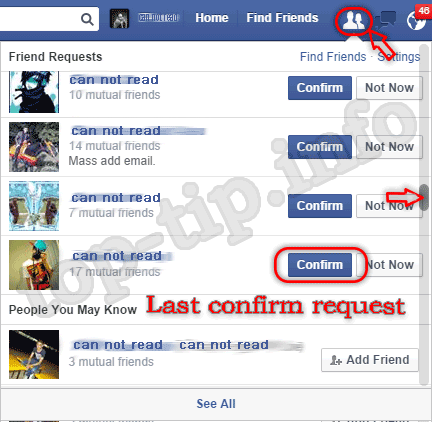 accept friends request