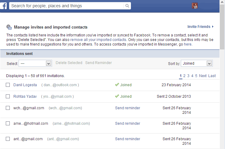 How to view email friends requests history on facebook ccuart Gallery